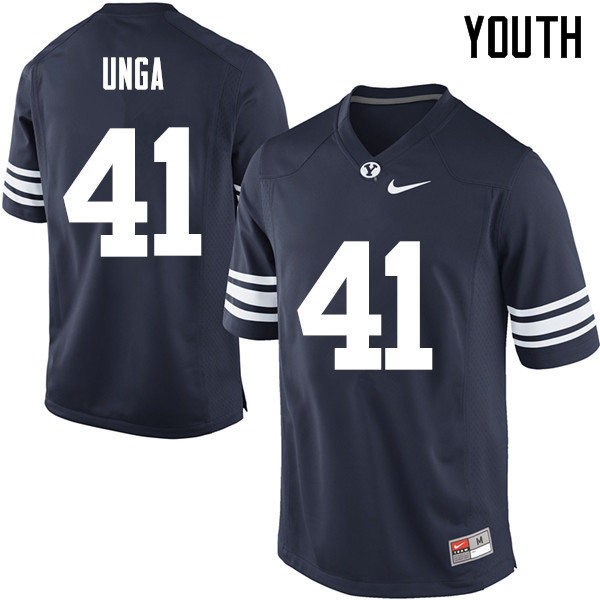 Youth #41 Uani Unga BYU Cougars College Football Jerseys Sale-Navy