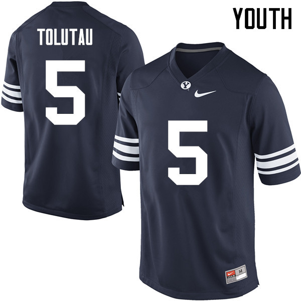 Youth #5 Ula Tolutau BYU Cougars College Football Jerseys Sale-Navy