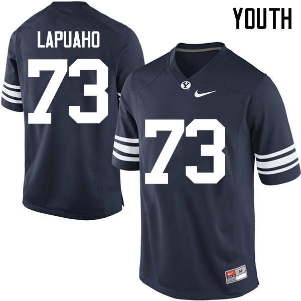 Youth #73 Ului Lapuaho BYU Cougars College Football Jerseys Sale-Navy