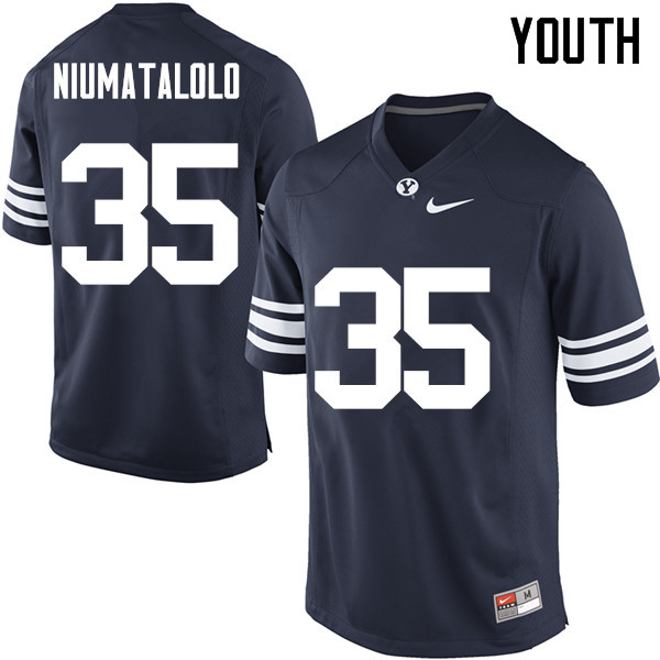 Youth #35 Vaa Niumatalolo BYU Cougars College Football Jerseys Sale-Navy